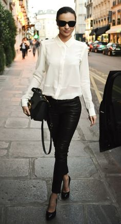white-shirt-leather-leggings